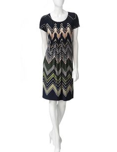 Perceptions Tuck Front Chevron Print Dress | Stage Stores