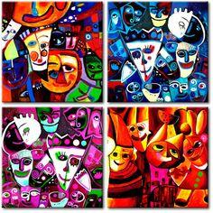 W cyrku jest wesoło, a na naszym obrazie kolorowo - Obraz Cyrk idealny do pokoju dziecka #obrazy #recznie #malowane #tryptyki #dekoracje #ścienne #sztuka #malarstwo #wnętrza #cyrk #dzieci #pokój #dziecka