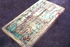 NYC Subway Map Coffee Table Made from Pallet Wood and Hairpin Legs. $225.00, via Etsy.