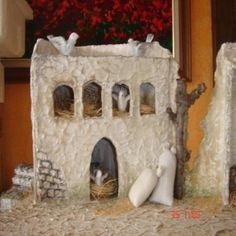 GRUPO DE CASAS RECICLADAS | ARTESANA.... LA WEB. Diorama, Nativity, Fondant, Projects To Try, House Design, Collage, Christmas, Portal, Crafts