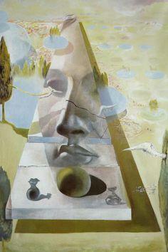 Salvador Dali >> Apparition du visage de l Aphrodite de Cnide dans un paysage, 1981  |  (huile, reproduction, copie, tableau, oeuvre, peinture).