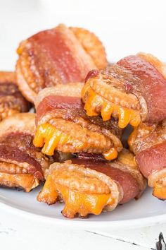 Bacon wrapped cheesy crackers - super addicting, super easy make-ahead appetizer with just 4 ingredients!