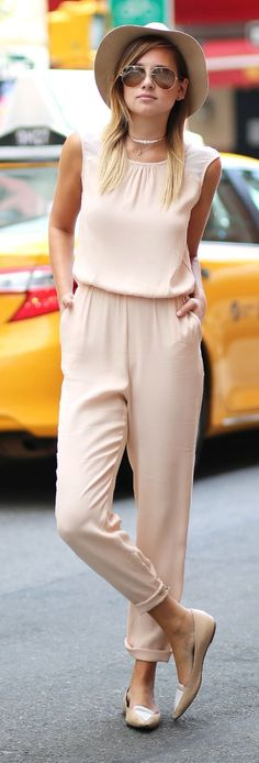 Zara Nude Sleeveless Drawstring Waist Jumpsuit by We Wore What