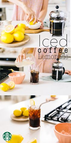 Think of Iced Coffee Lemonade as an Arnold Palmer, but with strong coffee instead of black tea. Recipe: Fill a glass with ice. Pour 1 cup double-strength coffee and ½ cup lemonade over the ice. Stir together, then top with a splash of sparkling water and lemon slice. Serve and enjoy!