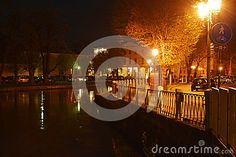 Treviso city, view from a bridge, castle and river by night, in Treviso, in Veneto, Italy.