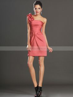 Ruffled Strap Pleated Satin Sheath Short Party Dress