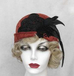 1920s Hat Flapper Style in a Rusty Velvet for Roaring 20s Party