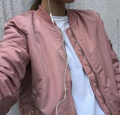 pink satin bomber uo - Google Search