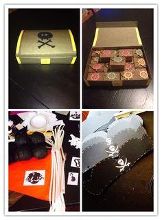 Festa pirati...cappellini,bandierine,tiro al bersaglio,forziere-regalini...tutto handmade