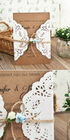 rustic lace and burlap wedding invitations for country wedding ideas