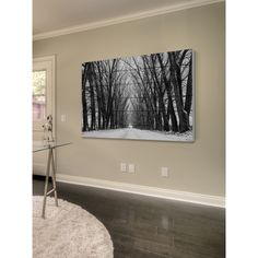 """Parvez Taj - """"Rows of Trees"""" Painting Print on White Wood   Overstock.com Shopping - The Best Deals on Wall Hangings"""