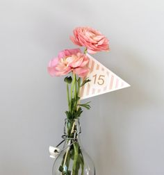Table numbers designed by me!  Pink & Cream stripe printable table number flags (1-15 included / more numbers available on request)