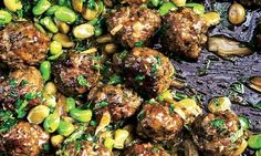 Yotam Ottolenghi's beef and lamb meatballs with broad beans and lemon: Serve with plain basmati rice and you're pretty much done. Ottolenghi Recipes, Yotam Ottolenghi, Jerusalem Artichoke Recipe, Jerusalem Cookbook, Broad Bean Recipes, Lamb Meatballs, Artichoke Recipes, Lebanese Recipes, Kitchens