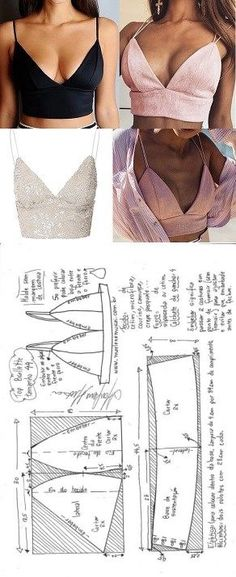Top bralette for flat fabric DIY - shaping, cutting and seaming - Marlen . - Top bralette for flat fabric DIY – shaping, cutting and stitching – Marlene Mukai – - Diy Clothing, Clothing Patterns, Dress Patterns, Sewing Clothes Women, Clothing Styles, Tops Diy, Diy Tops For Women, Costura Fashion, Diy Kleidung