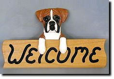 Boxer Natural - Dog Breed Welcome Sign - Our unique selection of hand painted natural oak Dog Breed Welcome Signs are sure to please the most discriminating Dog Lover! Be the envy of everyone with thi...