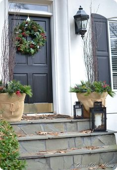 Front Door or on a bench for front porch-Holiday Decor Farmhouse Style House Decor, Farmhouse Style Decorating, Porch Decorating, Holiday Decorating, Front Porch Bench, Front Door Decor, Front Doors, Christmas Porch, Christmas Decorations