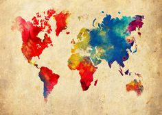 World Map 20x30 Absract - Print Poster. $29.95, via Etsy.