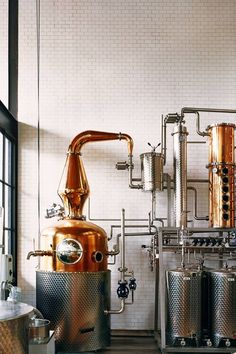 The alembic distiller at Cacao Prieto, Brooklyn's chocolate-factory-meets-rum-distillery, produces cacao-based spirits. Gin Tasting, Tasting Room, Brewing Co, Home Brewing, Beer Factory, Brewery Design, Gin Distillery, Beer Brewery, Brewery Restaurant