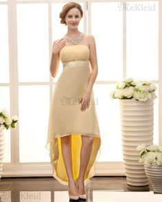 Etui Column Mittellang Klassische Trägerlos Chiffon Abendkleid - Bild 1