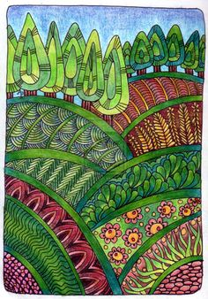 Zentangle Landscape by Artwyrd Landscape Quilts, Landscape Art, Zentangle Patterns, Zentangles, Tangle Art, Art Club, Whimsical Art, Art Plastique, Elementary Art