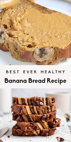 Delicious super moist healthy banana bread made with whole wheat flour, protein packed greek yogurt and naturally sweetened with pure maple syrup. Easy to make and perfect for brunch or snacking. Everyone loves this healthy banana bread recipe because it can easily be made into muffins, too! #bananabread #breakfast #brunch #baking #healthysnack