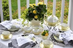 Tea Party Tablescapes | Yellow, black and white teatime tablescape