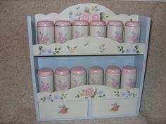 Pfaltzgraff Tea Rose Spice Rack With Jars - HTF - VGC #Pfaltzgraff