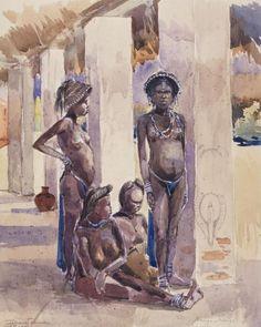 Bango Bango La femme de Molemba, Sultan de Musekilo, Dec 1898 État indépendant du Congo (Congo Free State) Peintre: Léon Dardenne
