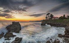Download wallpapers sunset, seascape, ocean, beach, coast, Asturias, Spain