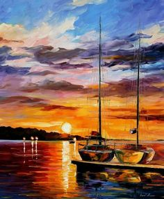 "Details about BY THE DOCK — Palette Knife Oil Painting On Canvas By Leonid Afremov 30""x36"""