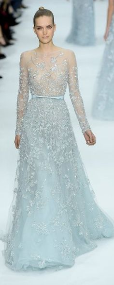 Dreamy, sheer and soft fabric in the softest hue; not all fabrics are equal!!! - Elie Saab ~