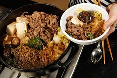 At Tokyo Sukiyaki.authentic Japanese Sukiyaki prepared right at the table. Japanese Dishes, Japanese Food, Japanese Recipes, Asian Recipes, Beef Recipes, Cooking Recipes, Sirloin Recipes, Fondue Recipes, Kabob Recipes