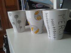 """mug dessiner avec feutre pour porcelaine et ma fille a ecrit """"Merci"""""""