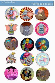 "Free Bottle Cap Images: Dumbo Disney free digital bottle cap images 1"""