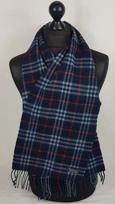 BURBERRY SCARF 100% LAMBSWOOL FOR MEN AND WOMEN MADE IN ENGLAND NAVY  A851   2e3f88324ce