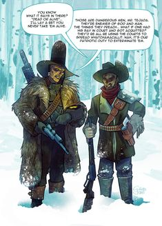 """galoogamelady:""""Commission for and Raul aka Two Old Fucks Wading Through Snow In Mid-November""""My granddad look incredible in that big ass coat, and of course, Mr.Tejada too! Fallout Comics, Fallout Meme, Fallout Fan Art, Fallout Concept Art, Fallout New Vegas, Apocalypse World, Apocalypse Art, Nuclear Winter, Post Apocalyptic Art"""
