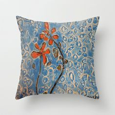 orange flower in a blue field  Throw Pillow by Loosso - $20.00