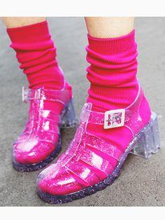 Transparent Glitter Gladiator Jelly Sandals with Block Heel | Choies