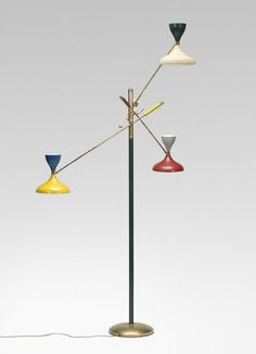 Anonymous; Enameled Metal and Brass Floor Lamp by Stilnovo, c1955.