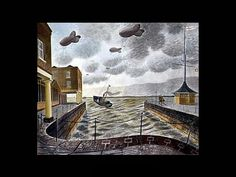 Painting, Eric Ravilious Barrage Balloons Outside a British Port, Leeds Art Gallery Online. Leeds Art Gallery, Online Art Gallery, Penguin Books, Landscape Art, Landscape Paintings, Oil Paintings, English Artists, British Artists, Homemade Art