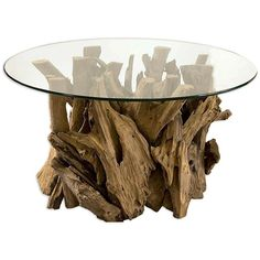 Uttermost Driftwood Cocktail Table (€680) ❤ liked on Polyvore featuring home, furniture, tables, accent tables, drift wood table, round table, round accent table, circular table and round furniture