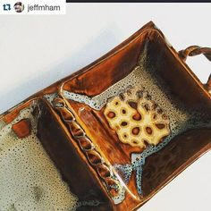"""@jeffmham made this stunning olive try using multiple 3.5"""" square forms. Great idea, good work, Jeff! #Repost @jeffmham with @repostapp. ・・・ olive tray for ma #ceramics #pottery #handbuilding #clay #grpotteryforms"""