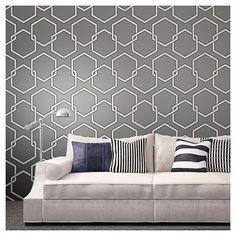 Tempaper Self-Adhesive Removable Wallpaper Honeycomb - Gray