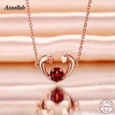 [ 25% OFF ] 925 Sterling Silver Necklaces Natural Ruby Stone Long Chain Women Pendant Necklace Jewelry Brand Ataullah Nwp406