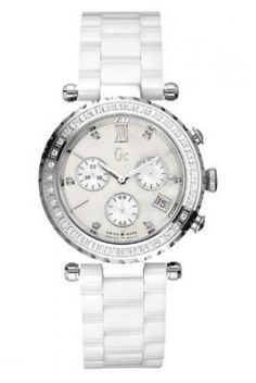 Guess Diver Diamond Gc Chrono White Ceramic Swiss Made