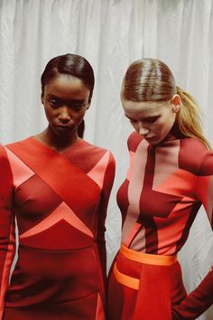 Riley Montana (Premier), Hollie-May Saker (Models1) backstage at Peter Pilotto AW14