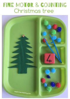 Fine Motor & Counting Christmas Tree activity tray for preschoolers and kindergartners!