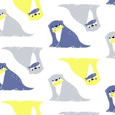 お魚とれたよ こまこ様 第5回fillilコンペ「北欧×カワウソ」 デザイン・イラストコンペSNS アトリエサーカス(ateliercircus) Illustrations, Illustration Art, Baby Animals, Cute Animals, Kids Patterns, Animal Design, Cute Cartoon, Character Design, Kawaii