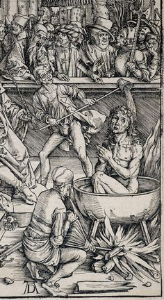 Durer Woodcut Signed, The Torture of St. John the Evangelist from The Apocalypse