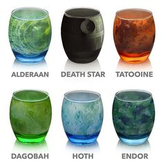 Stunning glasses based on some of the most iconic places in the entire Star Wars galaxy. These beautiful, officially licensed cups are made by ThinkGeek and are based on the Star Wars planets of Alderaan, Dagobah, Hoth, and Tatooine, as well as the forest moon of Endor, and the Death Star.